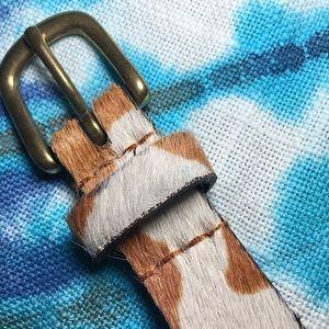 Nine West Leather Animal Print Skinny Belt Medium